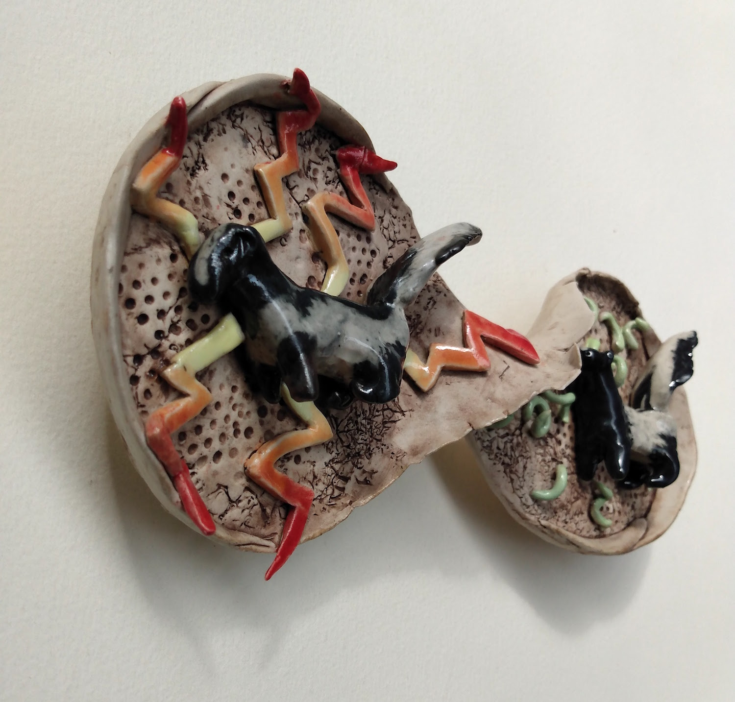 Alternate View, Dreamwork, Healing from shame, ceramic relief sculpture, wall hung, indoor, outdoor