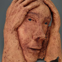 ALFONSO, Healing from, shame, ceramic relief, head and face sculpture, wall hung, indoor, outdoor