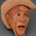 Cowboy, dreamwork, Healing from shame, ceramic relief, head and face sculpture, wall hung, indoor, outdoo