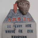 Economic loss, Dreamwork, Healing from shame, ceramic relief, head and face sculpture, wall hung, indoor, outdoor