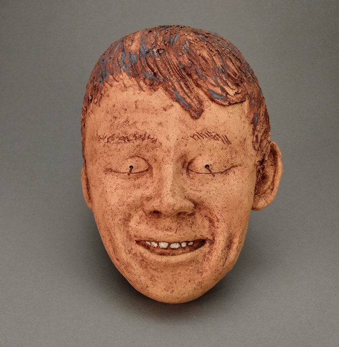 Child, Javier, Dreamwork, Healing from shame, ceramic relief, head and face sculpture, wall hung, indoor, outdoor