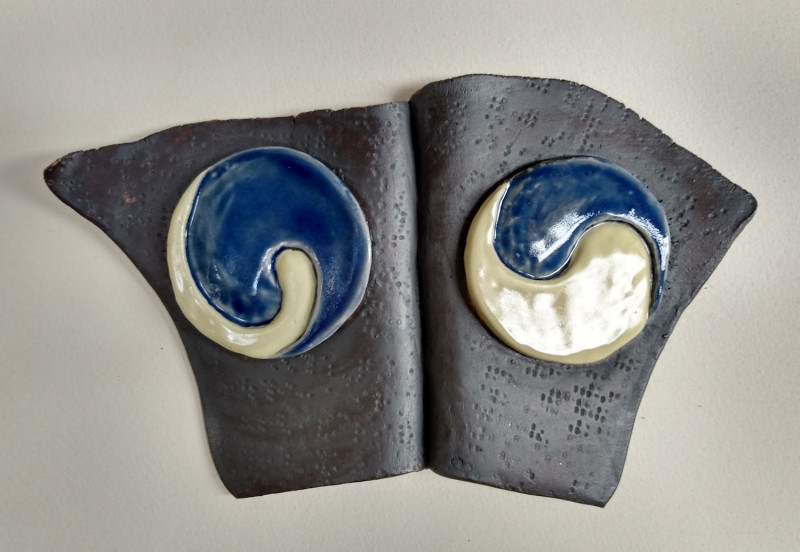 Dreamwork, Healing from shame, ceramic relief sculpture, wall hung, indoor, outdoor