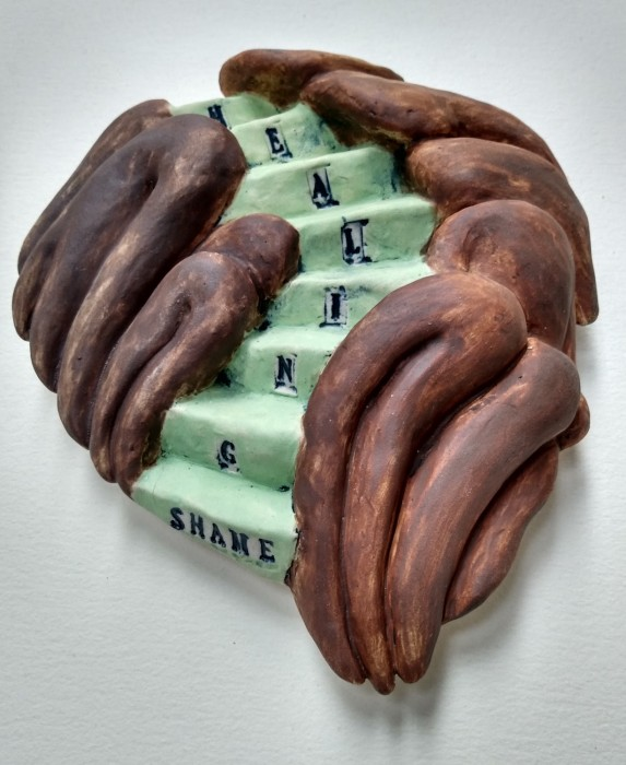 Healing Shame Stairway,  Healing from shame, ceramic relief sculpture, wall hung, indoor, outdoor