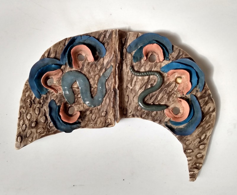 Depression / Choose Life, Dreamwork, Healing from shame, ceramic relief sculpture, wall hung, indoor, outdoor