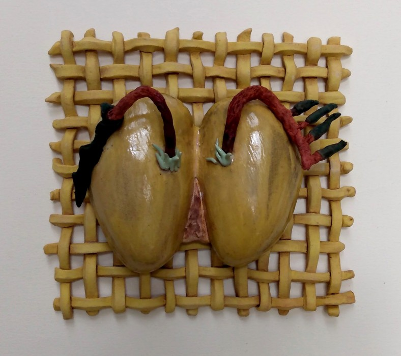 Self as Loser / Self as corrected, Dreamwork, Healing from shame, mixed media and ceramic relief sculpture, wall hung, indoor, outdoor